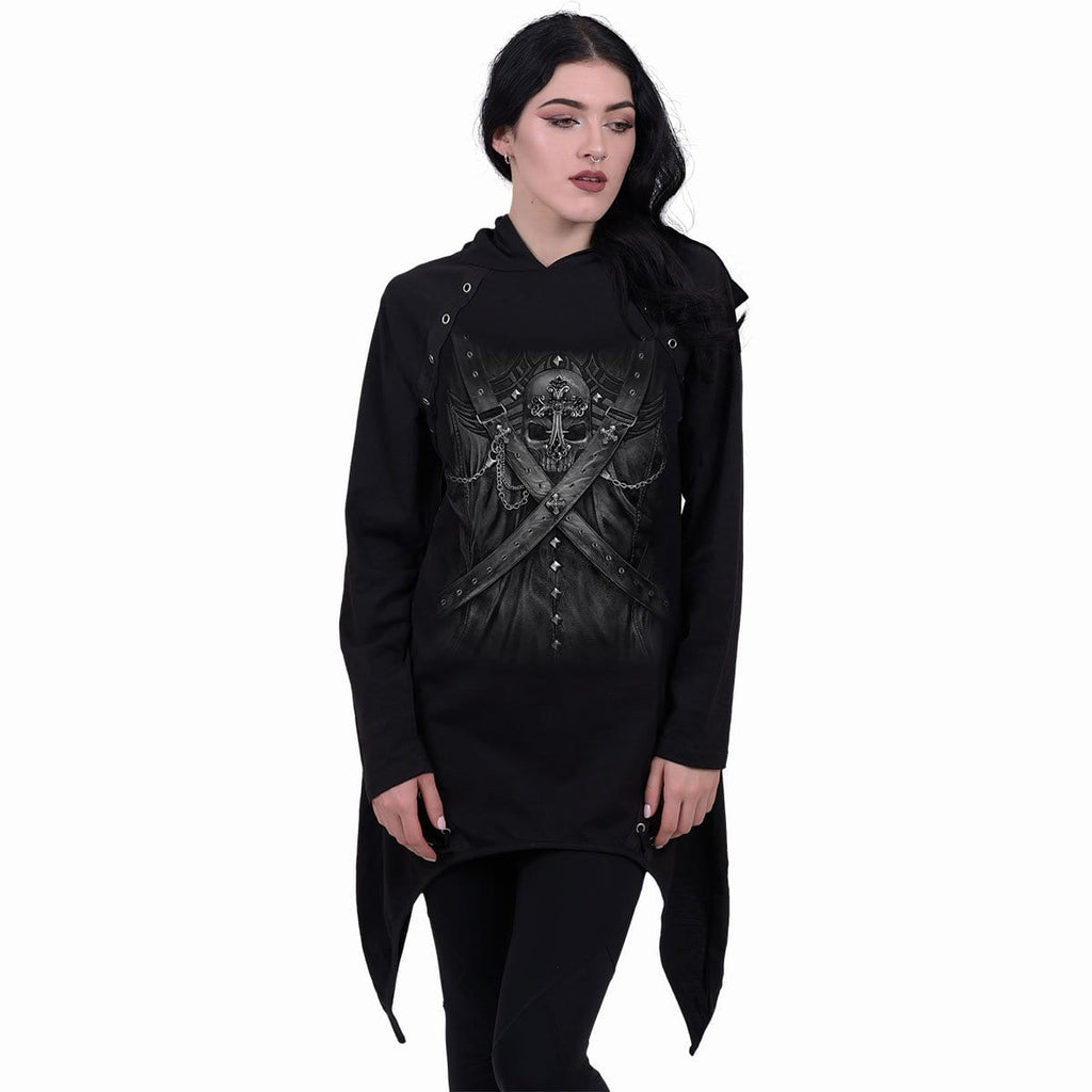 STRAPPED - Laceup Sherwood Hoody with Teardrop Hem - Spiral USA