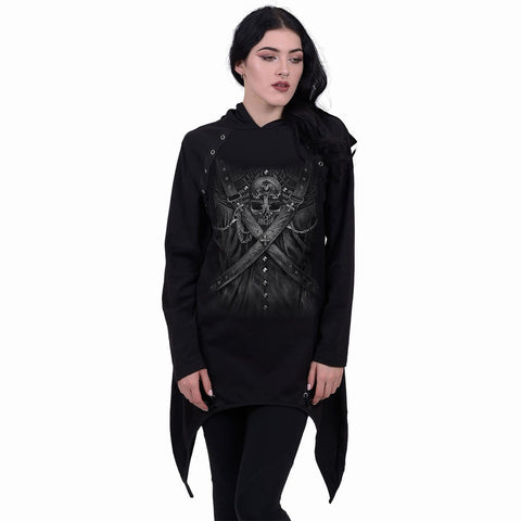 Image of STRAPPED - Laceup Sherwood Hoody with Teardrop Hem - Spiral USA