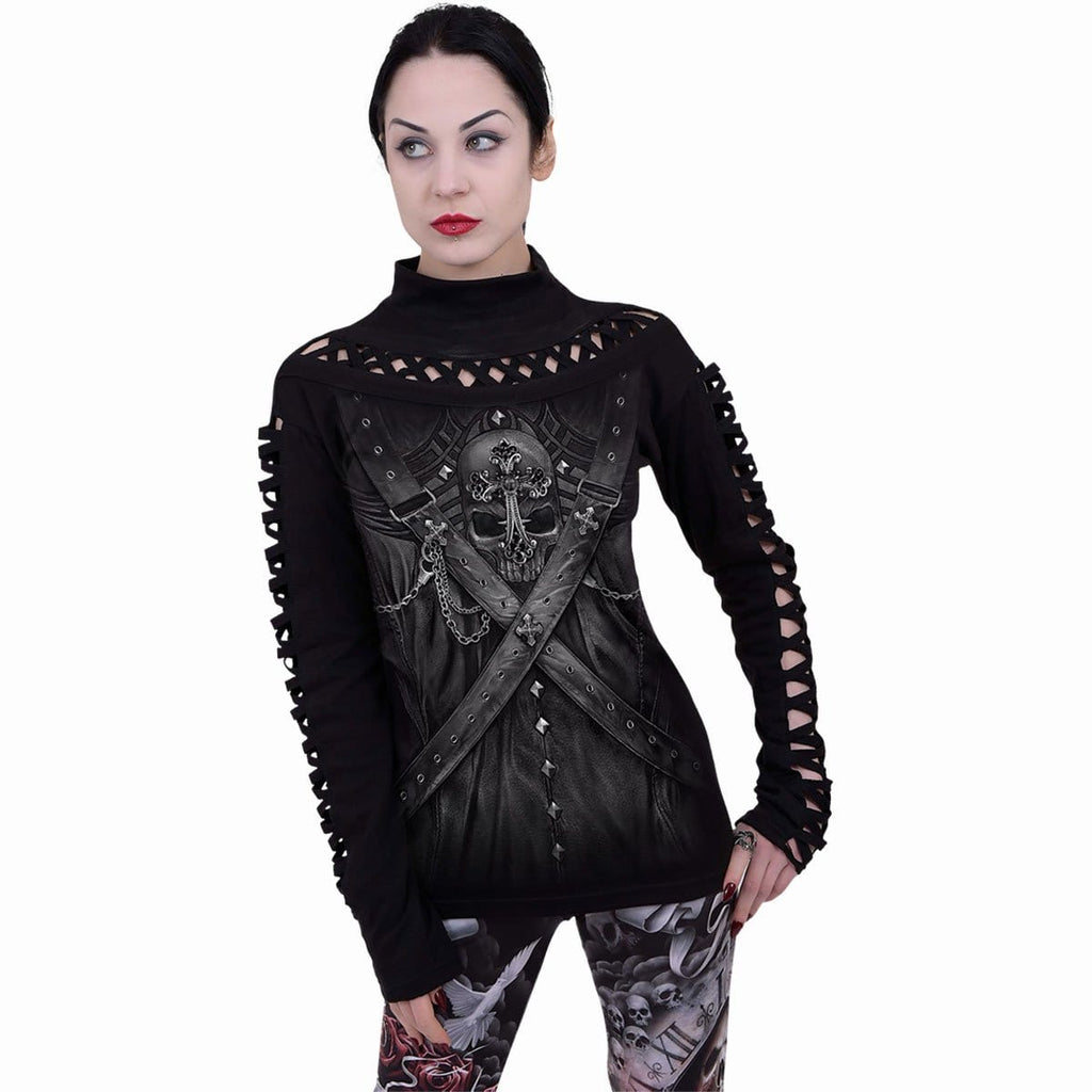 STRAPPED - Watefall Slits Longsleeve Top - Spiral USA