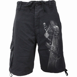STRAPPED - Vintage Cargo Shorts Black - Spiral USA