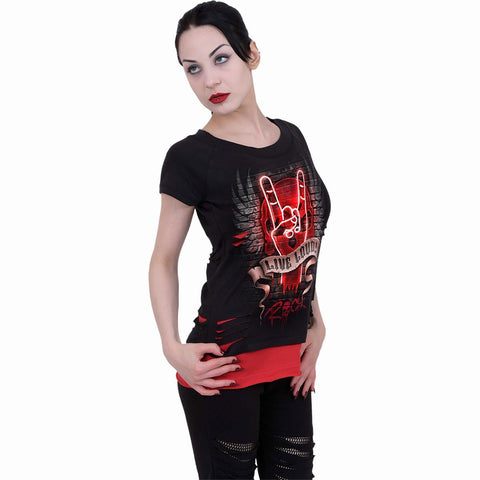 Image of LIVE LOUD - 2in1 Red Ripped Top Black - Spiral USA