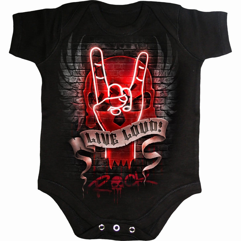 LIVE LOUD - Baby Sleepsuit Black - Spiral USA