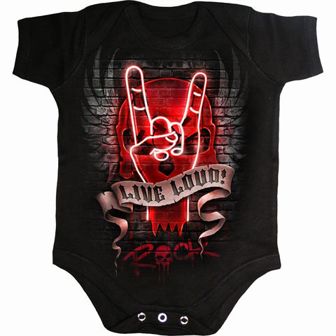 Image of LIVE LOUD - Baby Sleepsuit Black - Spiral USA
