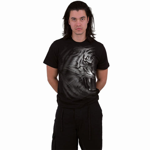 Image of TIGER WRAP - Front Print T-Shirt Black - Spiral USA