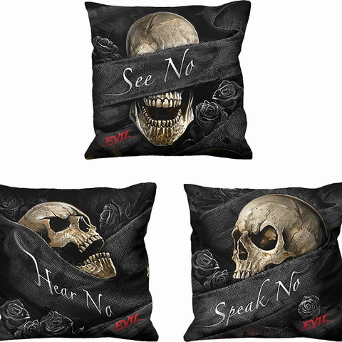 SEE NO EVIL - Square Cushion (Set of 3) - Spiral USA