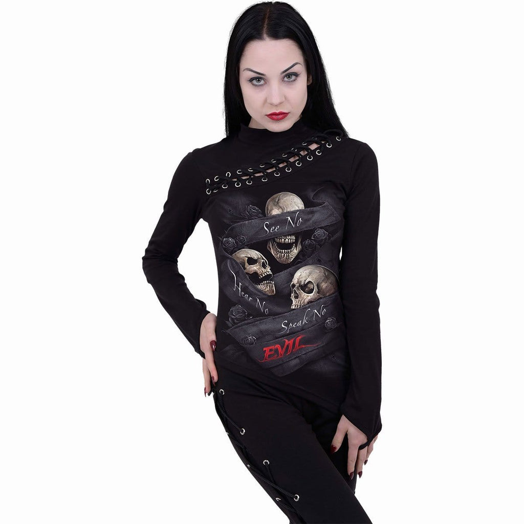 SEE NO EVIL - Slant Lace Up Longsleeve Top - Spiral USA