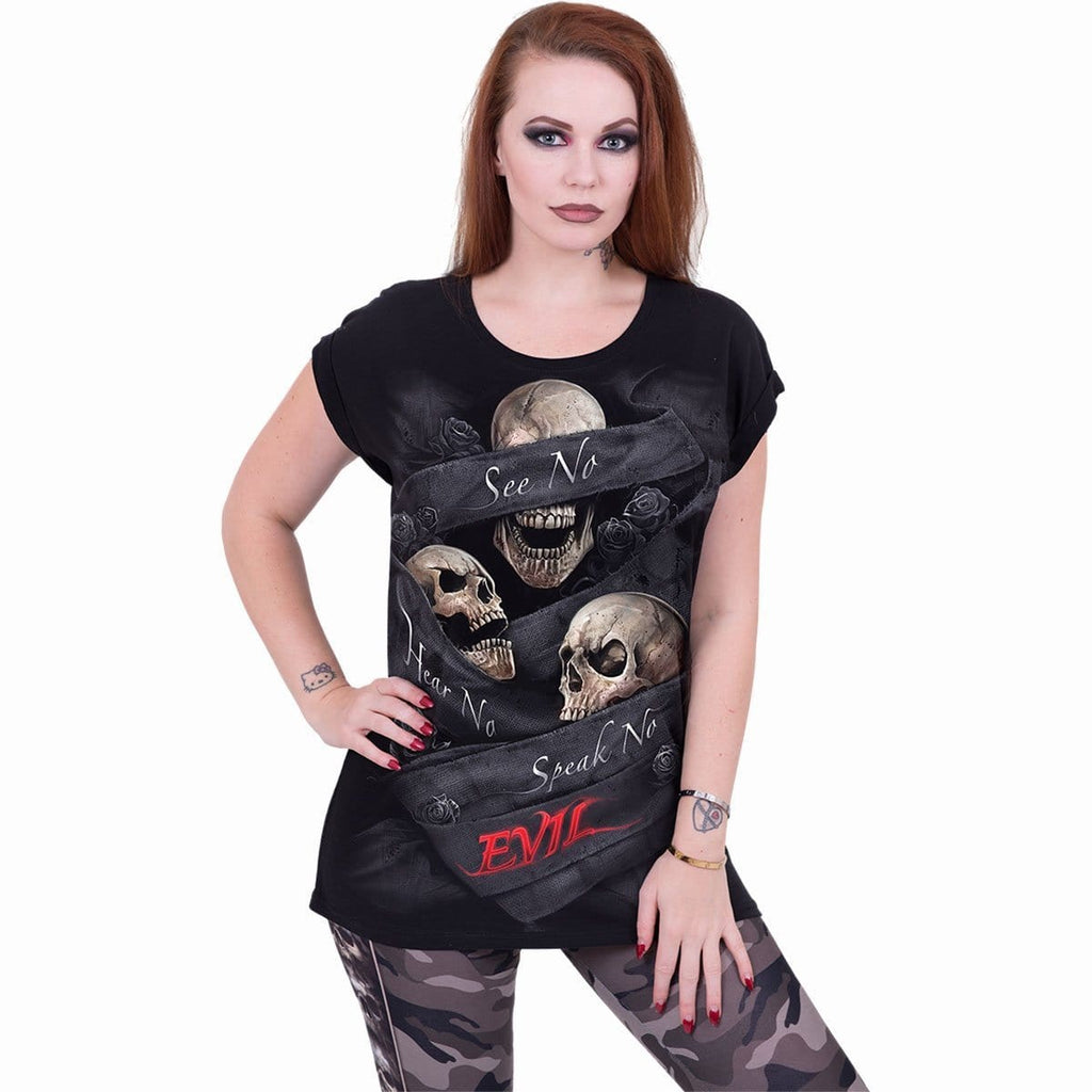 SEE NO EVIL - Turnup Sleeve Loosefit Tee - Spiral USA