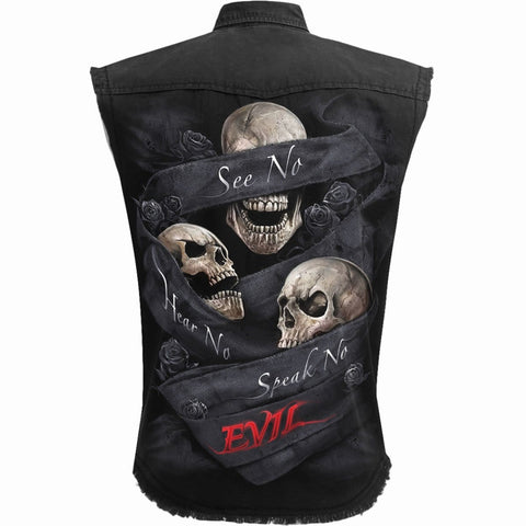 Image of SEE NO EVIL - Sleeveless Stone Washed Worker Black - Spiral USA