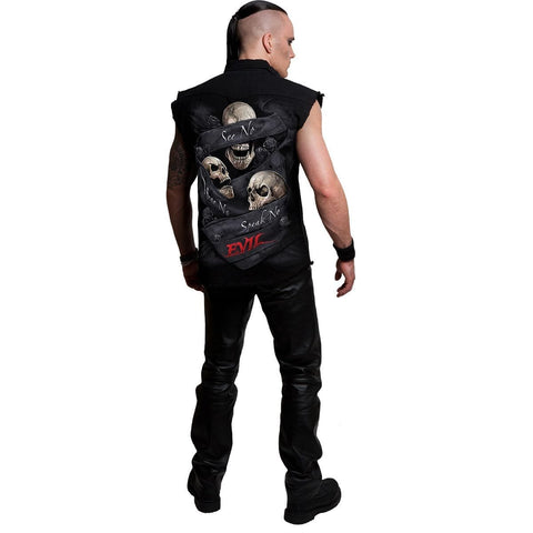 SEE NO EVIL - Sleeveless Stone Washed Worker Black - Spiral USA