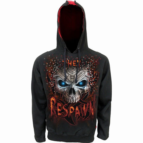Image of RESPAWN - Red Ripped Hoody Black - Spiral USA