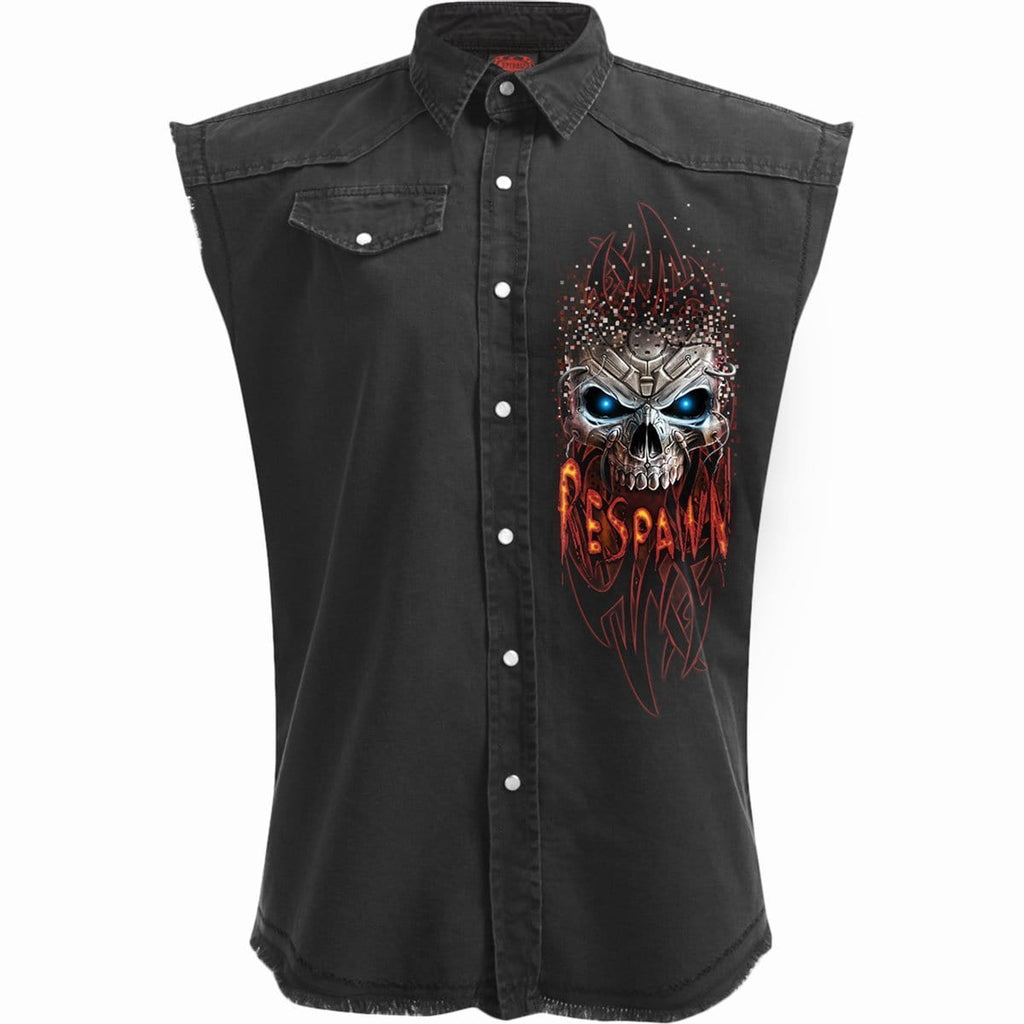 RESPAWN - Sleeveless Stone Washed Worker Black - Spiral USA