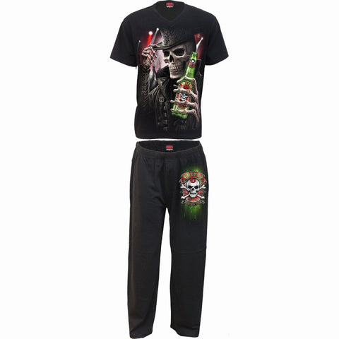 Image of TRIPLE 6 - 4pc Mens Gothic Pyjama Set - Spiral USA