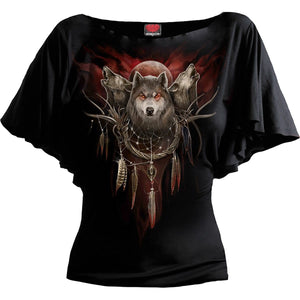 CRY OF THE WOLF - Boat Neck Bat Sleeve Top Black - Spiral USA