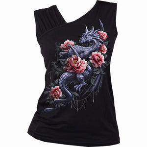 DRAGON ROSE SLANT - Gathered Shoulder Slant Vest Black - Spiral USA