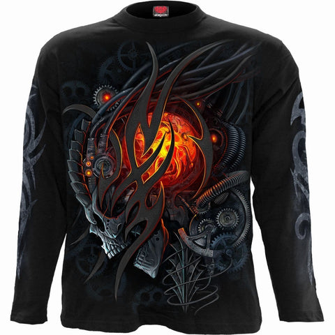 Image of STEAMPUNK SKULL - Longsleeve T-Shirt Black - Spiral USA