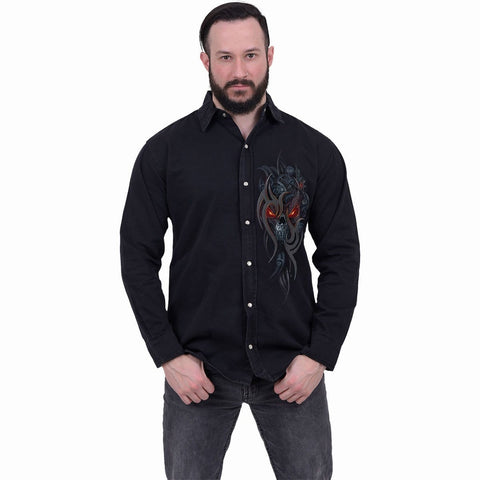 Image of STEAMPUNK SKULL - Longsleeve Stone Washed Worker Black - Spiral USA