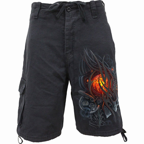 Image of STEAMPUNK SKULL - Vintage Cargo Shorts Black - Spiral USA