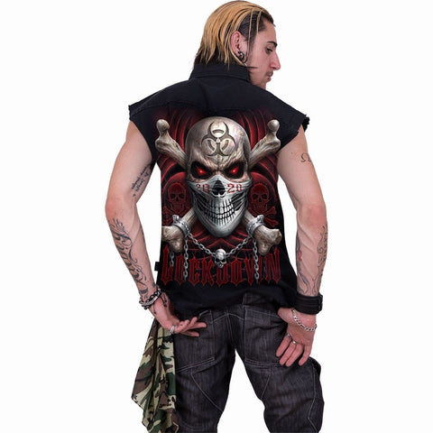 LOCKDOWN 2020 - Sleeveless Stone Washed Worker Black - Spiral USA
