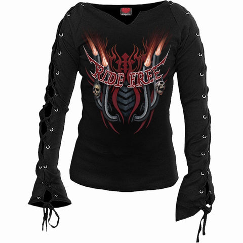 RIDE FREE - Laceup Sleeve Top Black