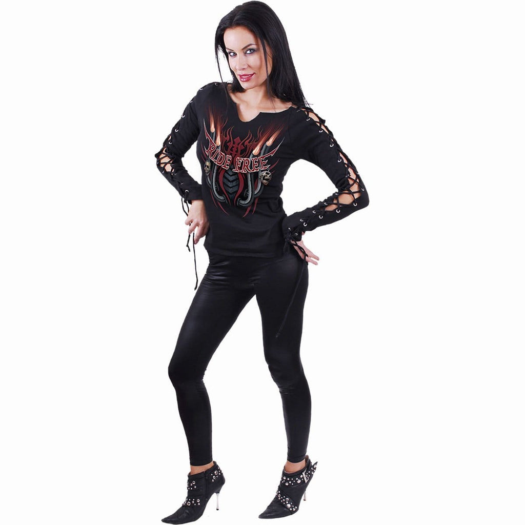 RIDE FREE - Laceup Sleeve Top Black - Spiral USA