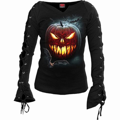 CARVING DEATH - Laceup Sleeve Top Black