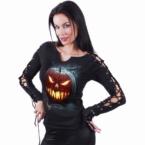 Image of CARVING DEATH - Laceup Sleeve Top Black - Spiral USA