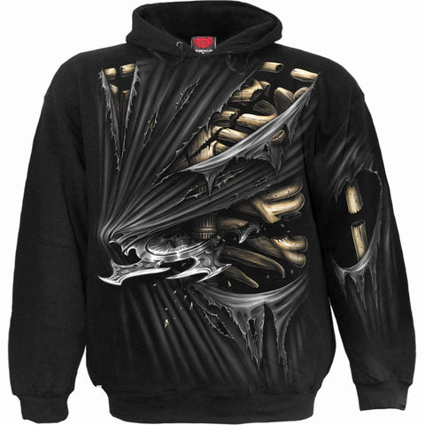 Image of BONE SLASHER - Allover Hoody Black - Spiral USA