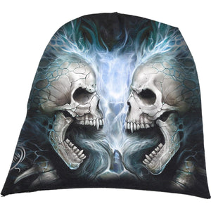 FLAMING SPINE - Light Cotton Beanies Black - Spiral USA