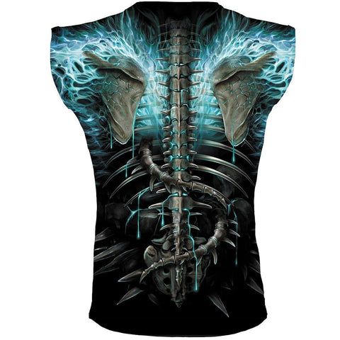 Image of FLAMING SPINE - Allover Sleeveless T-Shirt Black - Spiral USA