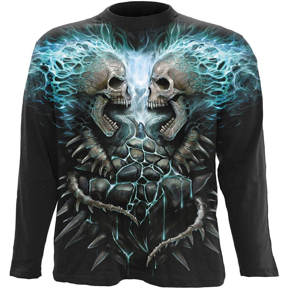FLAMING SPINE - Allover Longsleeve T-Shirt Black - Spiral USA