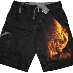 BURN IN HELL - Vintage Cargo Shorts Black - Spiral USA