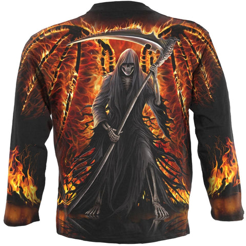 FLAMING DEATH - Allover Longsleeve T-Shirt Black - Spiral USA
