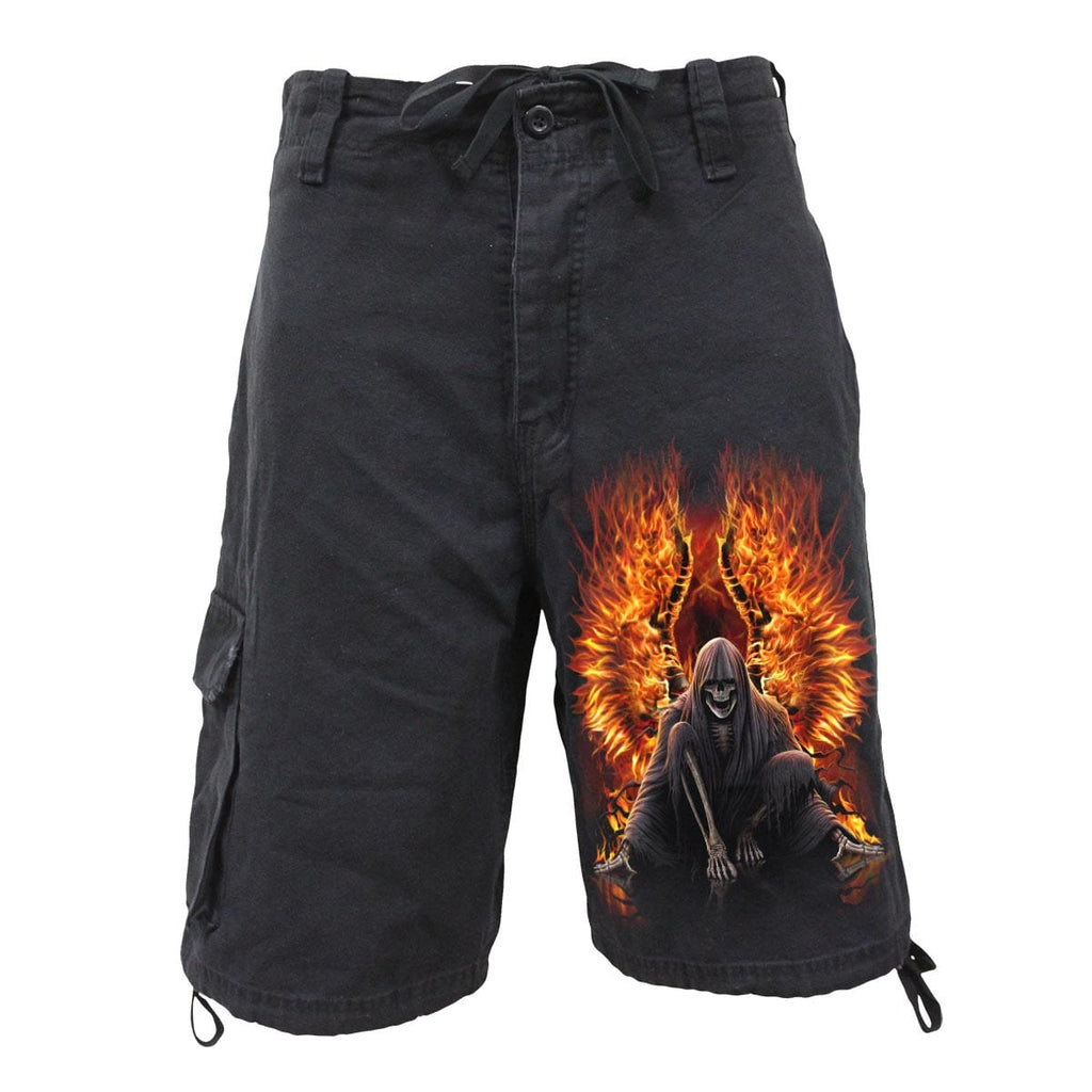 FLAMING DEATH - Vintage Cargo Shorts Black - Spiral USA
