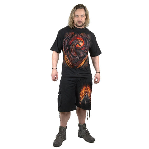 Image of FLAMING DEATH - Vintage Cargo Shorts Black - Spiral USA