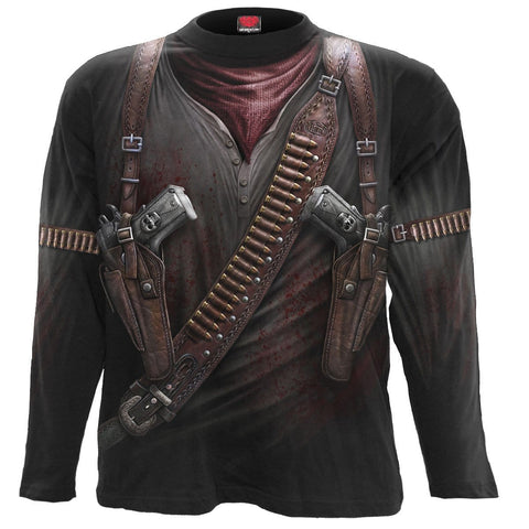 Image of HOLSTER WRAP - Allover Longsleeve T-Shirt Black - Spiral USA