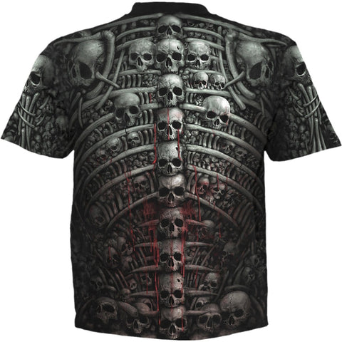 Image of DEATH RIBS - Allover T-Shirt Black - Spiral USA