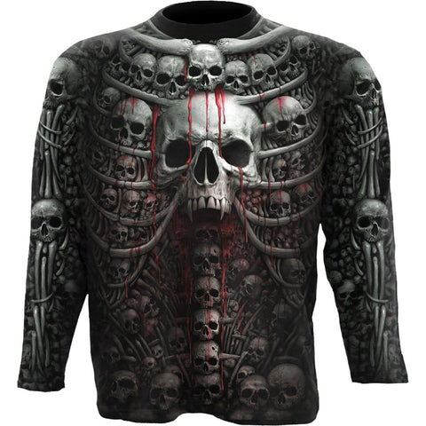 Image of DEATH RIBS - Allover Longsleeve T-Shirt Black - Spiral USA