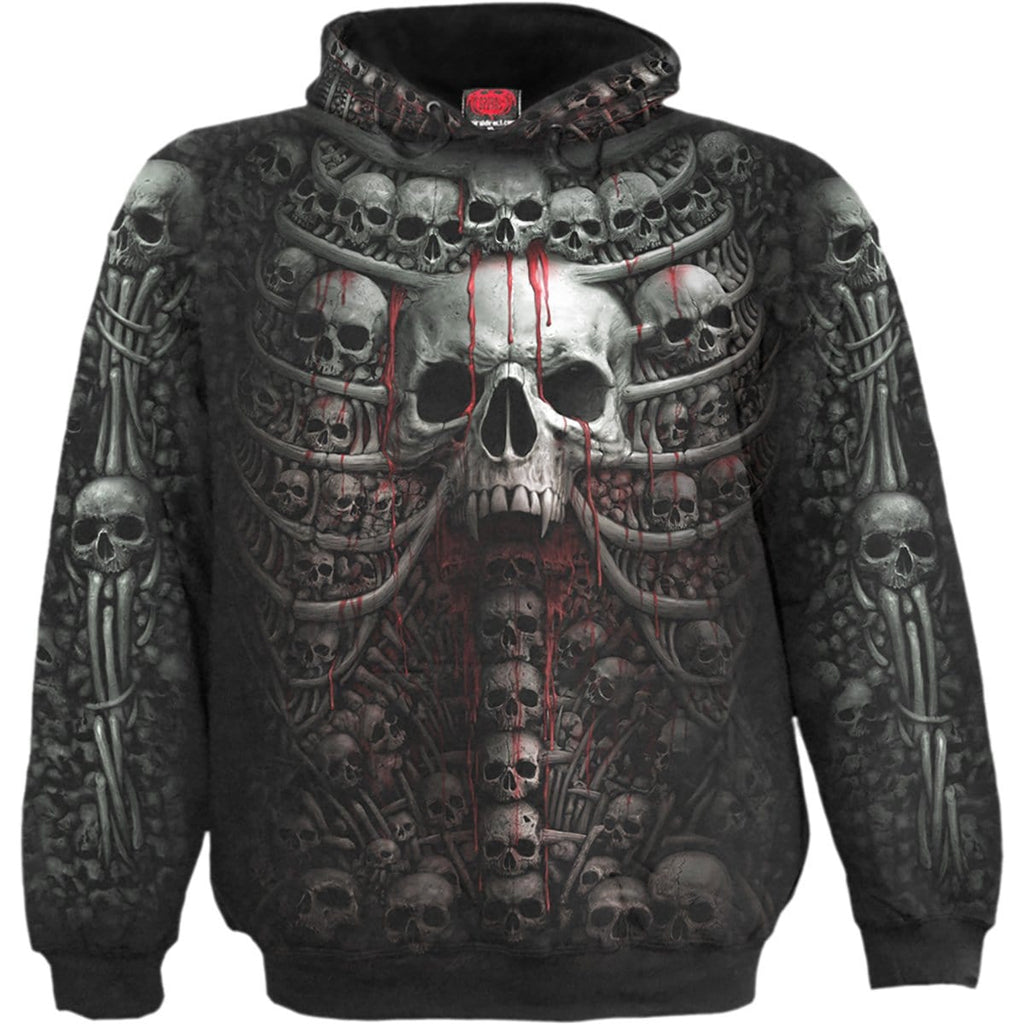 DEATH RIBS - Allover Hoody Black - Spiral USA