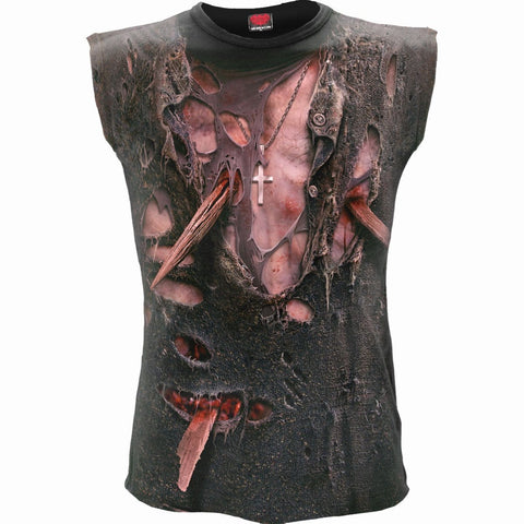Image of ZOMBIE WRAP - Allover Sleeveless T-Shirt Black - Spiral USA