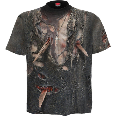 ZOMBIE WRAP - Allover T-Shirt Black - Spiral USA