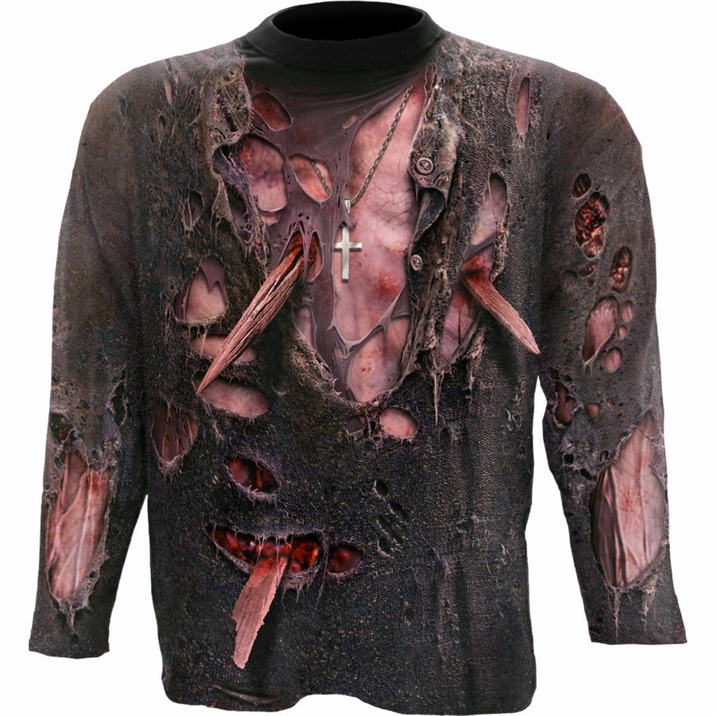 ZOMBIE WRAP - Allover Longsleeve T-Shirt Black - Spiral USA