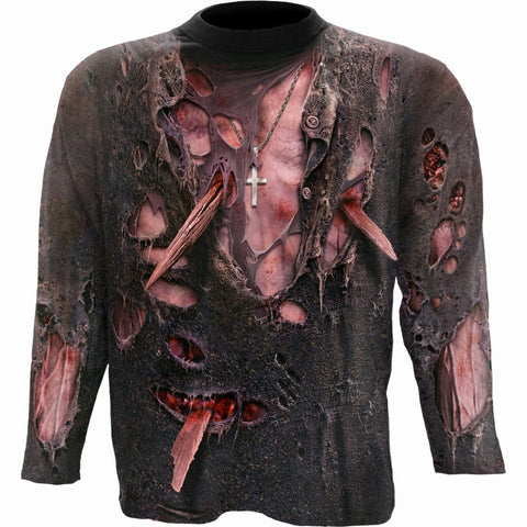 Image of ZOMBIE WRAP - Allover Longsleeve T-Shirt Black - Spiral USA