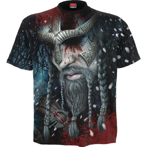 Image of VIKING WRAP - Allover T-Shirt Black - Spiral USA