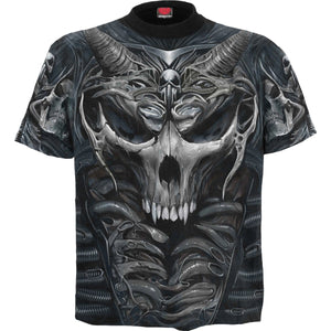 SKULL ARMOUR - Allover T-Shirt Black - Spiral USA