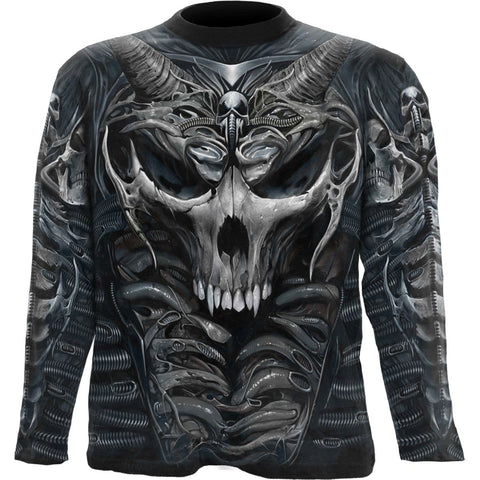 Image of SKULL ARMOUR - Allover Longsleeve T-Shirt Black - Spiral USA