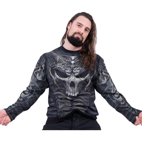 SKULL ARMOUR - Allover Longsleeve T-Shirt Black - Spiral USA
