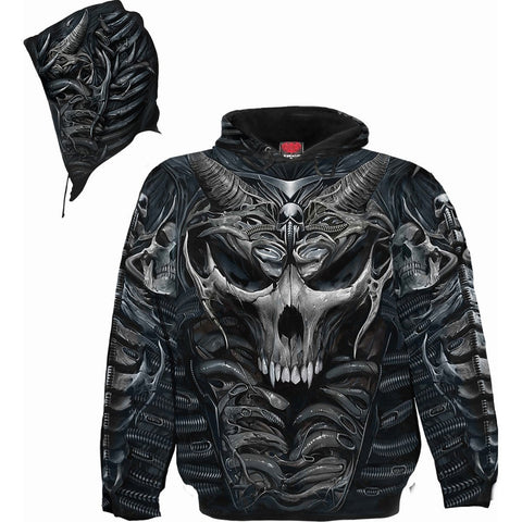 SKULL ARMOUR - Allover Hoody Black - Spiral USA