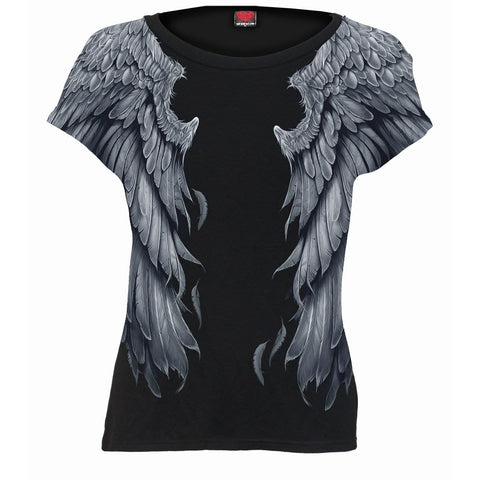 Image of SERAPHIM - Allover Cap Sleeve Top Black - Spiral USA