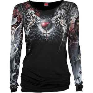 LIFE AND DEATH CROSS - Allover Baggy Top  Black - Spiral USA