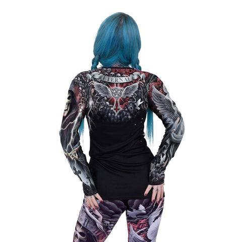 Image of LIFE AND DEATH CROSS - Allover Baggy Top  Black - Spiral USA